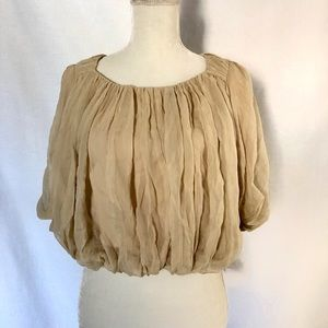 Stella and Jamie Nude Flounce Silk Blouse S Small